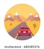 american highway travel vector... | Shutterstock .eps vector #680385376