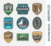 trekking expedition vintage... | Shutterstock .eps vector #680390125