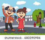 a couple standing on the street ... | Shutterstock . vector #680390986