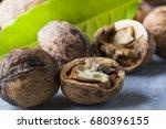 walnuts fresh walnut | Shutterstock . vector #680396155