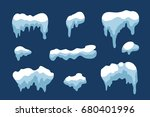 snow ice icicle set winter... | Shutterstock .eps vector #680401996