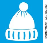 woolen hat icon white isolated... | Shutterstock .eps vector #680402302