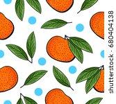 seamless hand drawn tangerine... | Shutterstock . vector #680404138