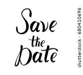save the date postcard. wedding ... | Shutterstock .eps vector #680410696
