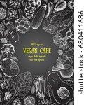vegetables top view frame.... | Shutterstock .eps vector #680411686