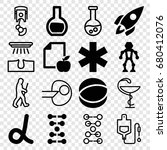 science icons set. set of 16... | Shutterstock .eps vector #680412076