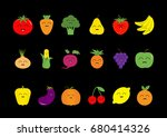 fruit berry vegetable face icon ... | Shutterstock .eps vector #680414326