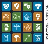 protect icons set. set of 16... | Shutterstock .eps vector #680419732