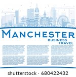 outline manchester skyline with ... | Shutterstock .eps vector #680422432