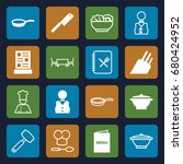 chef icons set. set of 16 chef... | Shutterstock .eps vector #680424952