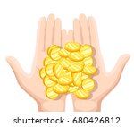 coins in the palms of men.... | Shutterstock .eps vector #680426812