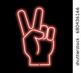 neon sign hand showing a sign... | Shutterstock .eps vector #680436166