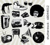 some vintage things hand drawn | Shutterstock .eps vector #68044012