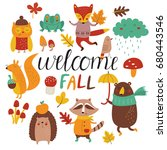 fall set with cute forest... | Shutterstock .eps vector #680443546