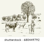 farmer with cow ad sheep  rural ... | Shutterstock .eps vector #680449792