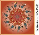 colorful antistress mandala in... | Shutterstock . vector #680458012