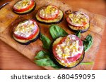 fried eggplants with fresh... | Shutterstock . vector #680459095