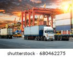 container truck in ship port... | Shutterstock . vector #680462275