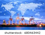 map global logistics... | Shutterstock . vector #680463442