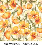 hand drawn watercolor floral... | Shutterstock . vector #680465206