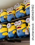 Small photo of Osaka, Japan - MARCH 29 2016 : Photo of HAPPY MINION dolls, selling Minion Goods shop. located in Universal Studios JAPAN, Osaka. Minions are famous character from Despicable Me animation.