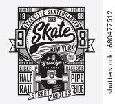 skate board sport typography ... | Shutterstock .eps vector #680477512