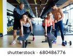 young women in gym doing... | Shutterstock . vector #680486776