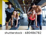 young women in gym doing... | Shutterstock . vector #680486782