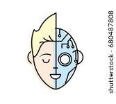 boy head in interface... | Shutterstock .eps vector #680487808