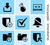 set of 9 web icons such as... | Shutterstock .eps vector #680492416
