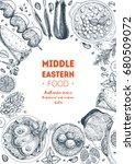 middle eastern cuisine ... | Shutterstock .eps vector #680509072