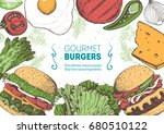 colorful burgers and... | Shutterstock .eps vector #680510122