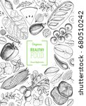 healthy food frame vector... | Shutterstock .eps vector #680510242