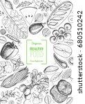 healthy food frame vector... | Shutterstock .eps vector #680510242