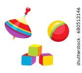 set of vector baby toys in flat ...   Shutterstock .eps vector #680513146
