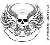 chopper skull tattoo insignia... | Shutterstock .eps vector #680514736