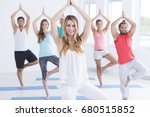 young people during yoga...   Shutterstock . vector #680515852