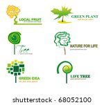 bio and eco trees set of icons | Shutterstock .eps vector #68052100
