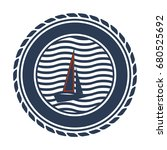 a blue nautical badge with a... | Shutterstock .eps vector #680525692