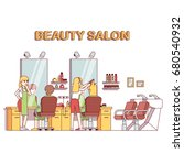 hairdresser stylist making... | Shutterstock .eps vector #680540932