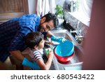 high angle view of father and... | Shutterstock . vector #680543422