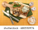 gouda cheeseburger and summer... | Shutterstock . vector #680550976