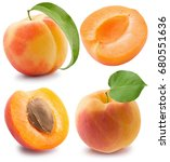 set of apricots isolated on a...   Shutterstock . vector #680551636
