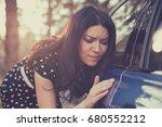 young worried funny looking... | Shutterstock . vector #680552212