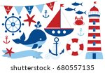 Vector Nautical Set With...