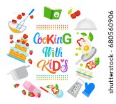 cooking with kids children... | Shutterstock .eps vector #680560906