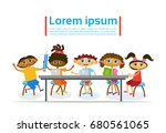 kids learing together small... | Shutterstock .eps vector #680561065