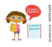 little girl hold stack of books ... | Shutterstock .eps vector #680561608