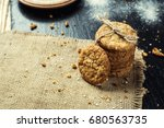 domestic stacked biscuit sweet... | Shutterstock . vector #680563735