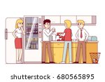 business colleagues eating... | Shutterstock .eps vector #680565895